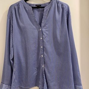 Blue and white striped blouse, button up
